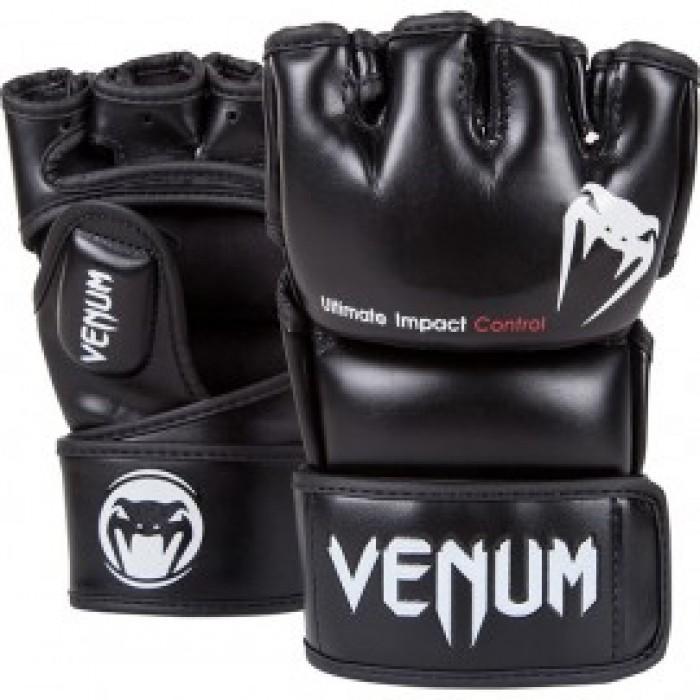 ММА ръкавици - VENUM - IMPACT MMA GLOVES - BLACK - SKINTEX LEATHER