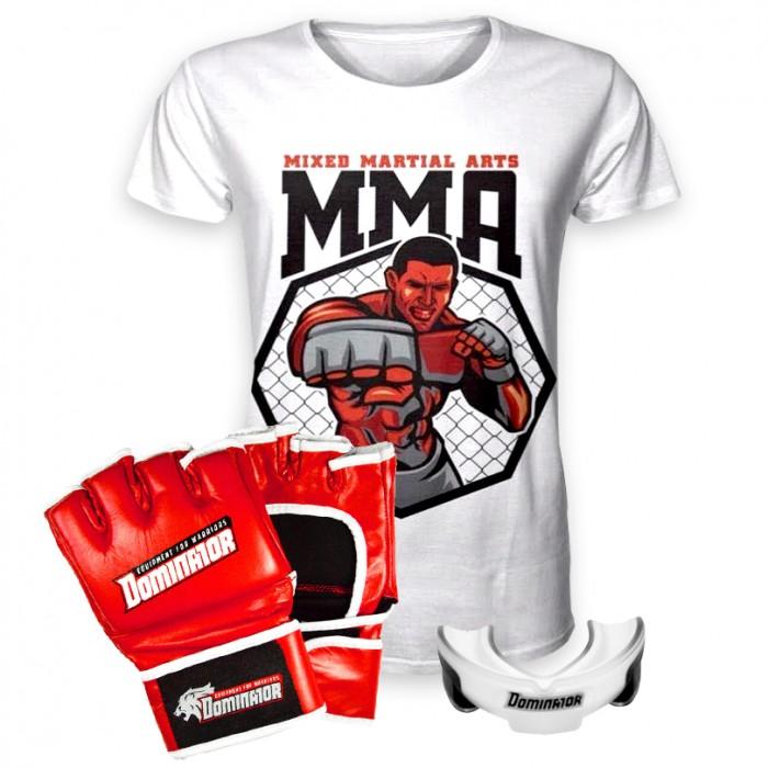 Стак 10 - Червени ММА Ръкавици + тениска + гума