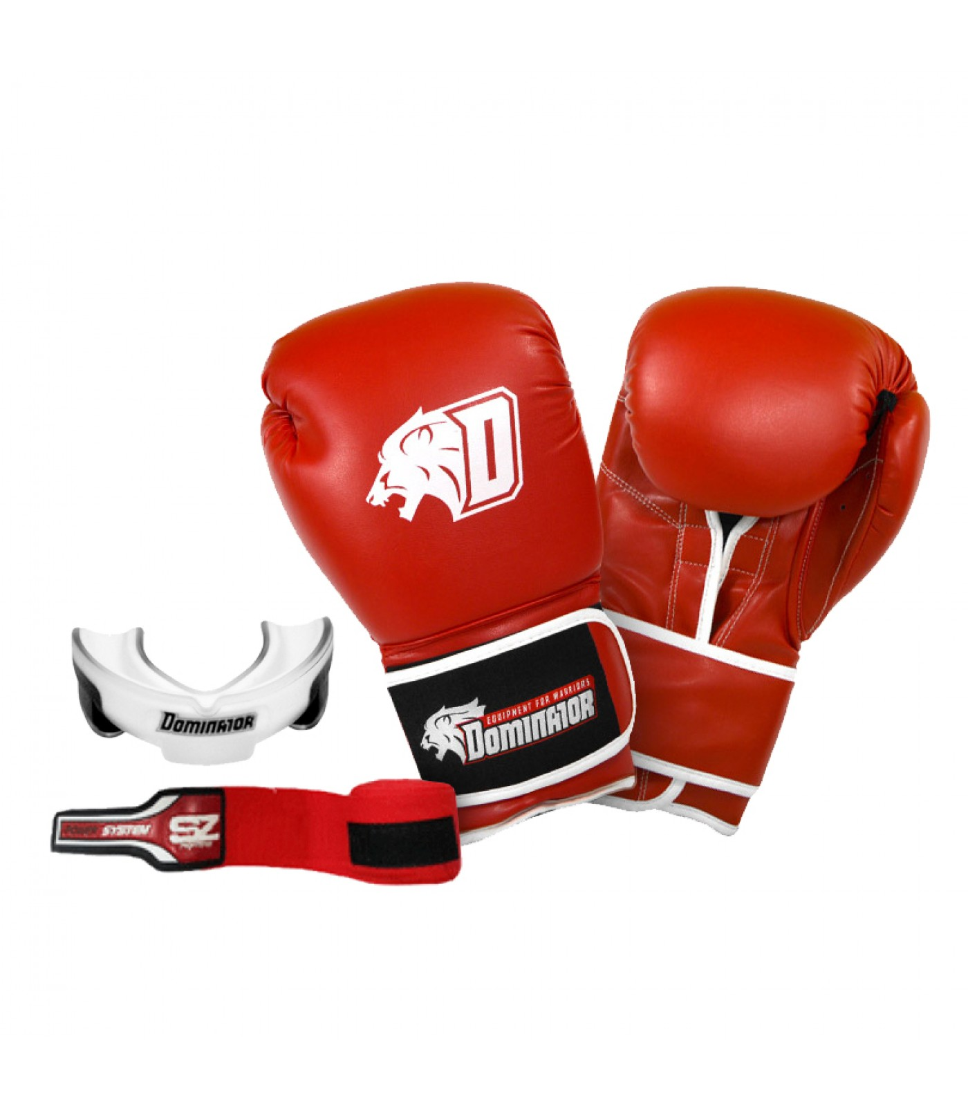 Стак 5 - Червени боксови ръкавици + червен бинт + гума