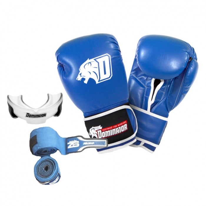 Стак 6 - Сини боксови ръкавици + син бинт + гума