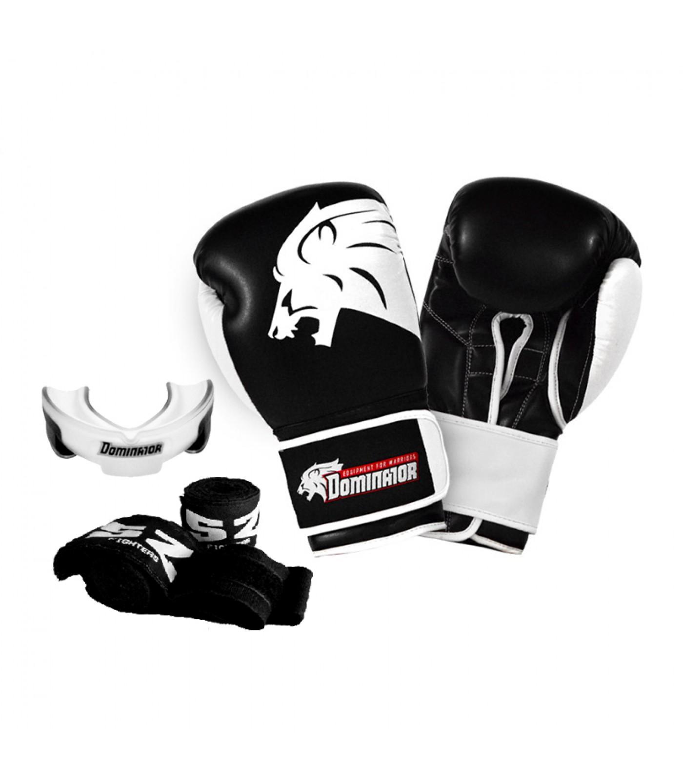 Стак 7 - Боксови ръкавици LION + черен бинт + гума