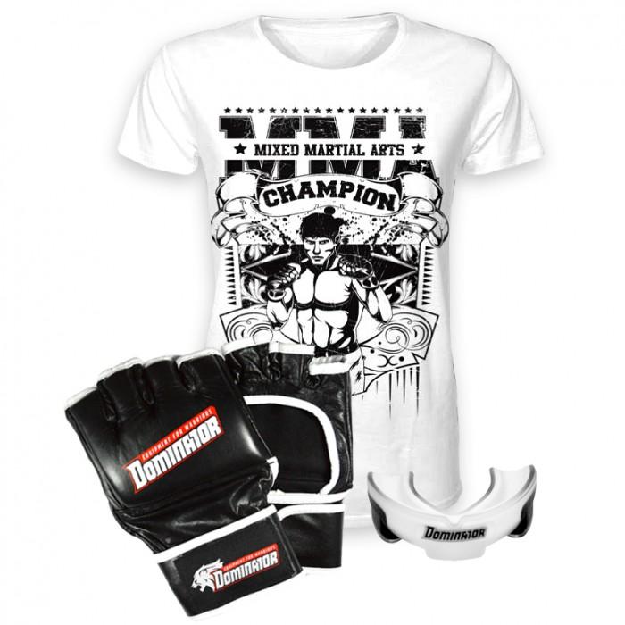 Стак 9 - Черни ММА Ръкавици + тениска + гума
