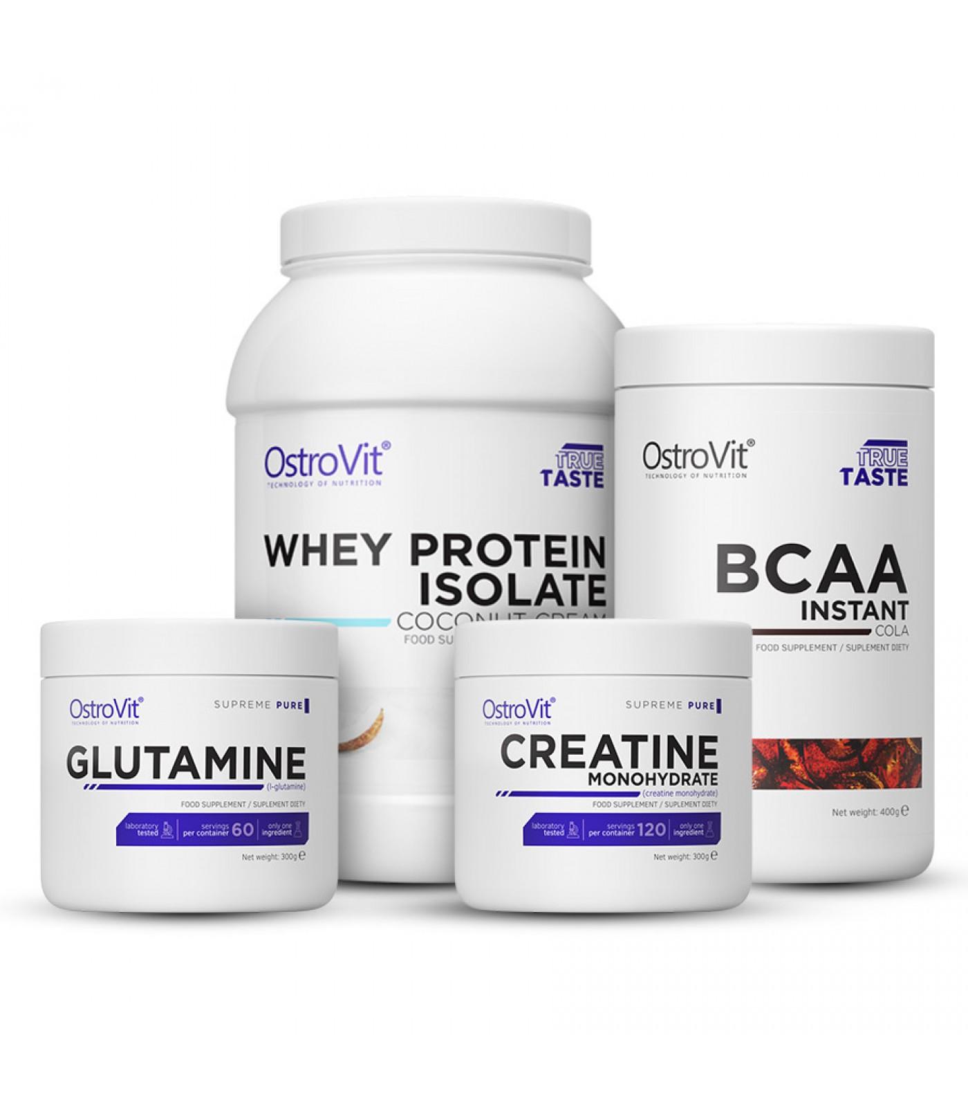Стак - Протеин изолат + BCAA + Креатин + Глутамин