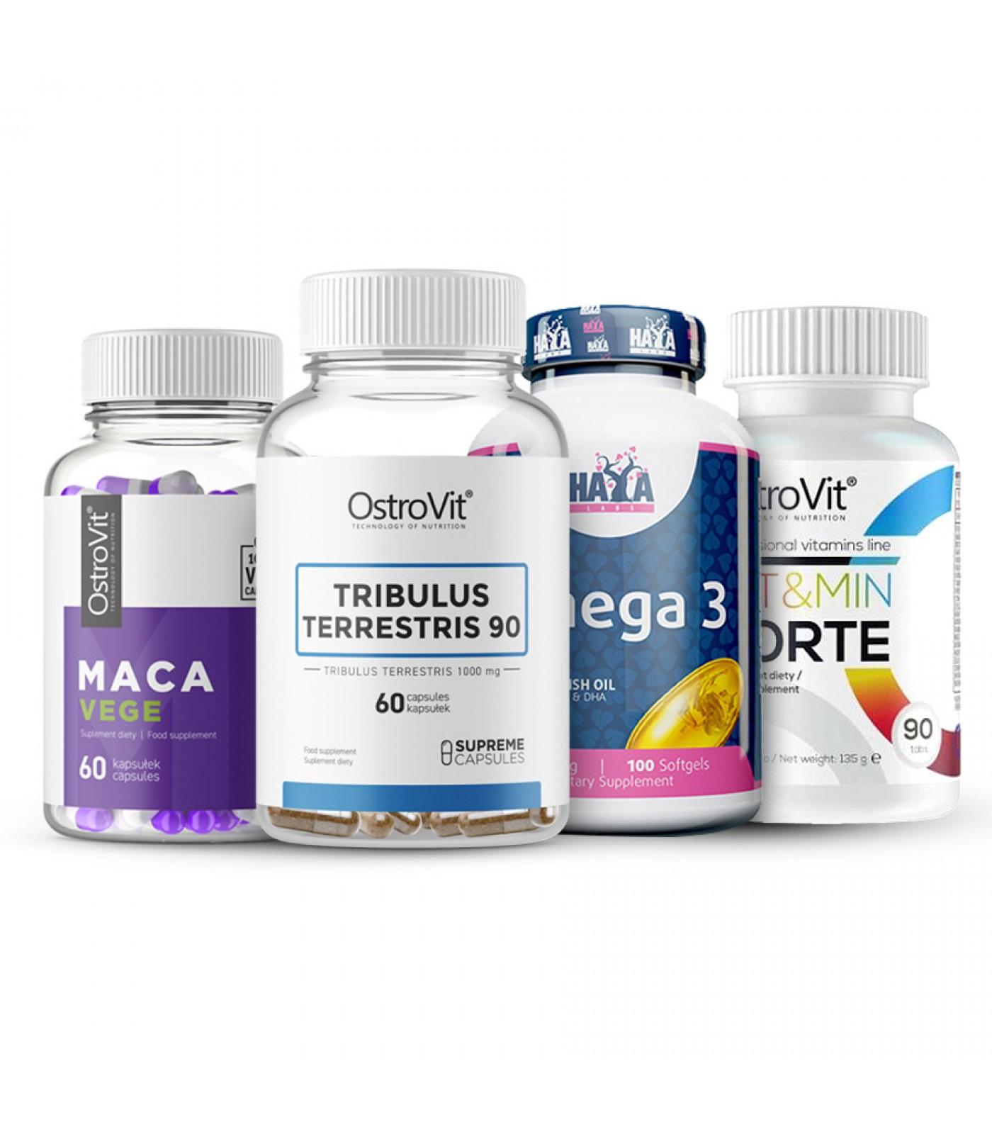 Стак - Трибулус + Мака + Витамини + Омега
