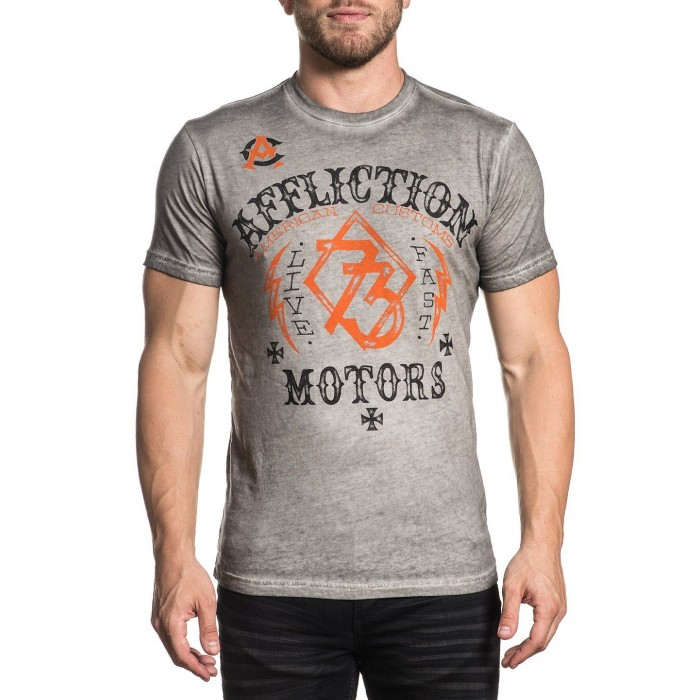 Affliction - Live Fast Motors / White Oil Stain​