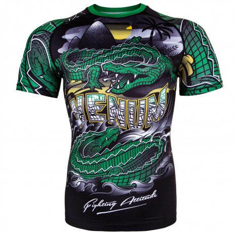 Рашгард - Venum Crocodile Rashguard - Black/Green - Short Sleeves