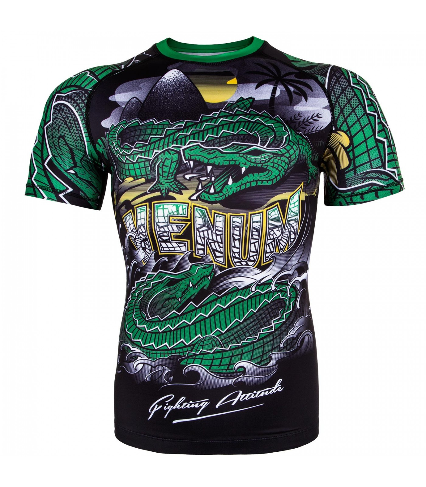 Рашгард - Venum Crocodile Rashguard - Black/Green - Short Sleeves​