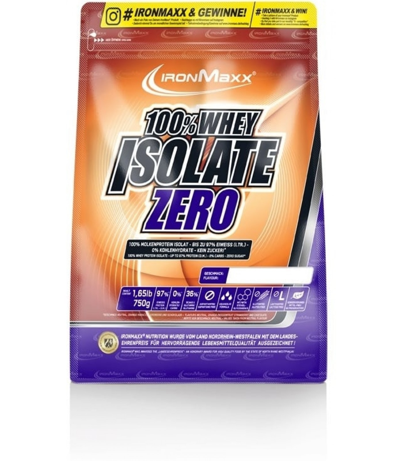 IronMaxx - 100% Whey Isolate Zero / 750gr.