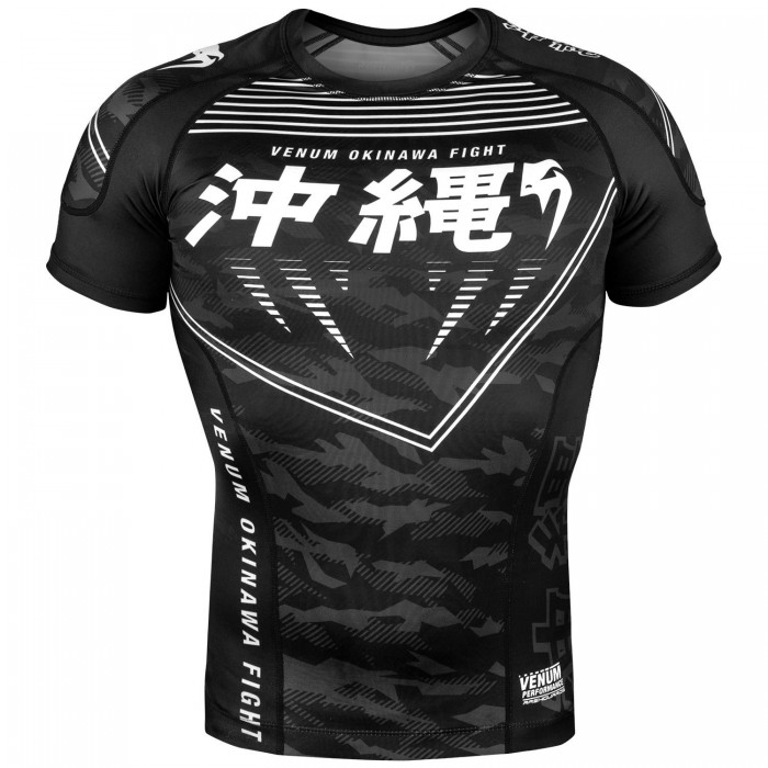 Рашгард - Venum Okinawa 2.0 Rashguard - Short Sleeves - Black/White​
