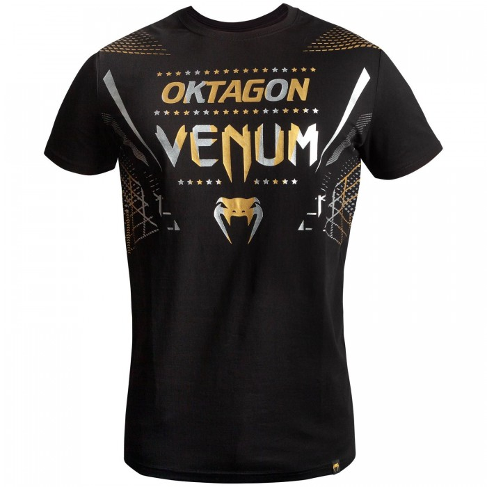 Тениска - Venum Oktagon T-shirt - Black/Gold-Silver