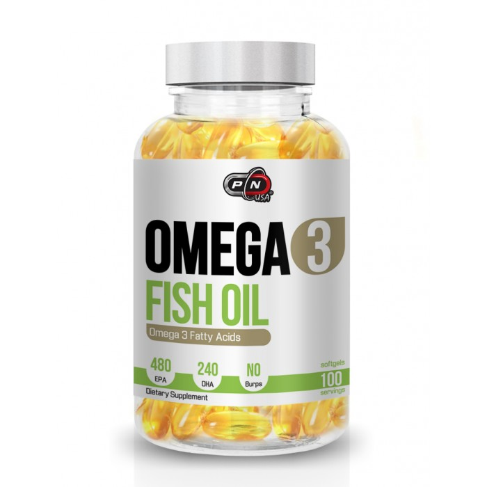 Pure Nutrition - Omega 3 Fish Oil / 100 softgels. - 480mg EPA / 240mg DHA