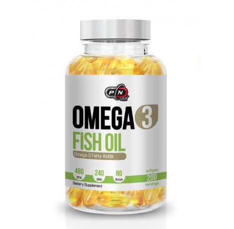 Pure Nutrition - Omega 3 Fish Oil / 200 softgels. - 480mg EPA / 240mg DHA