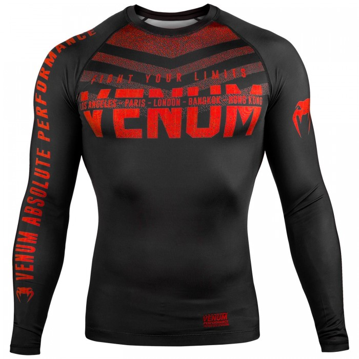 Рашгард - Venum Signature Rashguard - Long Sleeves - Black/Red​