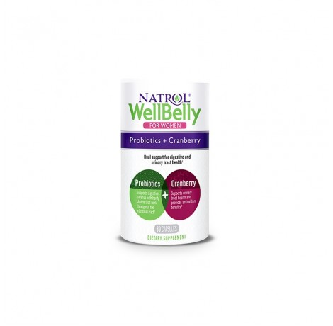 Natrol Well Belly Probiotics + Cranberry For Women / 30 caps.