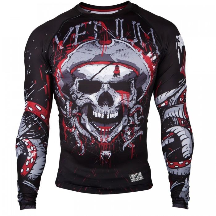 Рашгард - Venum Pirate 3.0 Rashguard - Black/Red - Long Sleeves