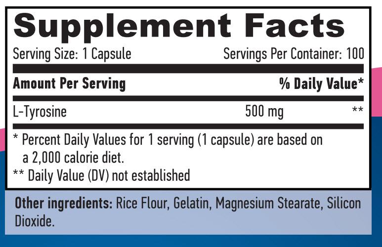 Резултат с изображение за HAYA LABS L-Tyrosine 500mg supplement